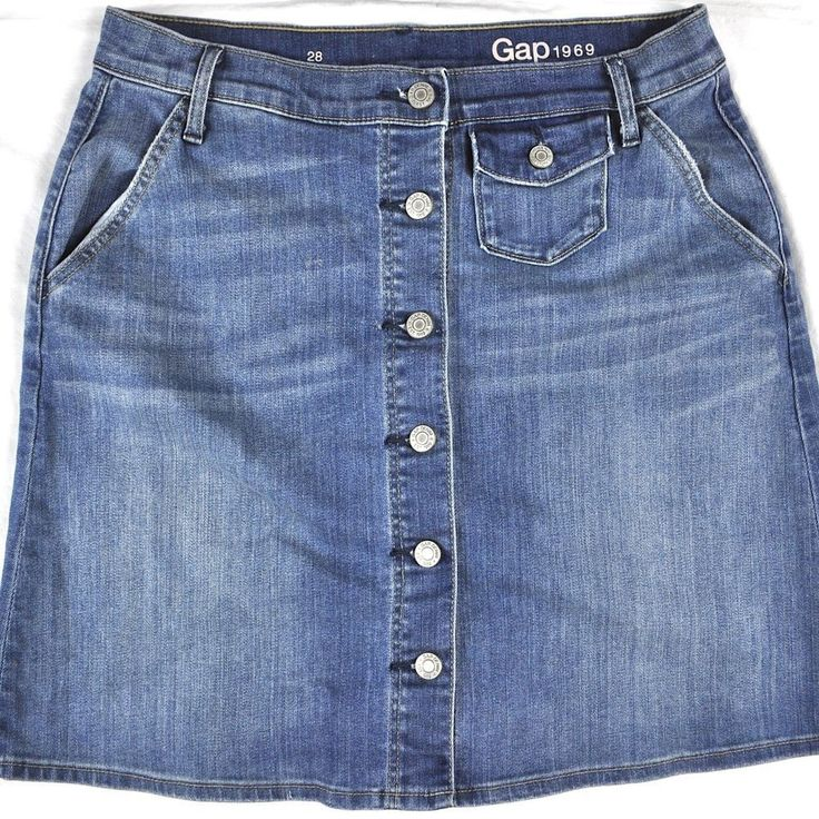 GAP 1969 Womens Worn Denim Jean Mini Skirt 28 Shank Button Coin Pocket Creases #Gap #Mini #Everyday #LadiesJeans