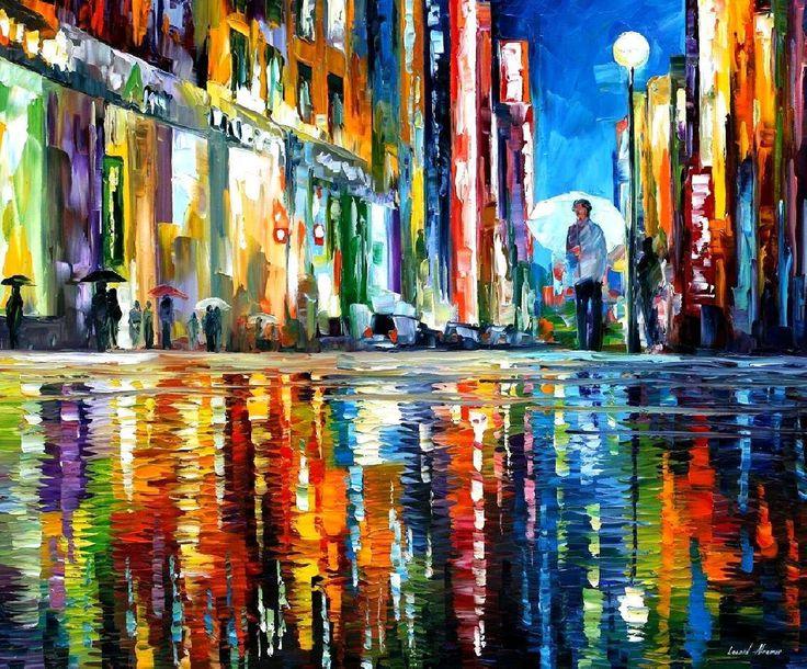 """Impressionismus - Spiegel des Regens – Abend Stadtbild Ölgemälde auf Leinwand von Leonid Afremov. Größe: 36 """"X 30"""" Zoll (90 x 75 cm) von AfremovArtStudio auf Etsy https://www.etsy.com/de/listing/125596440/impressionismus-spiegel-des-regens-abend"""