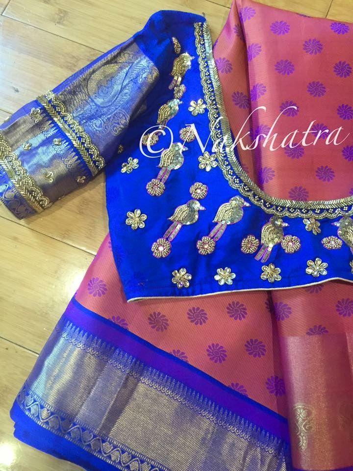 Kanchipuram embroidered elbow length sleeves,blouse