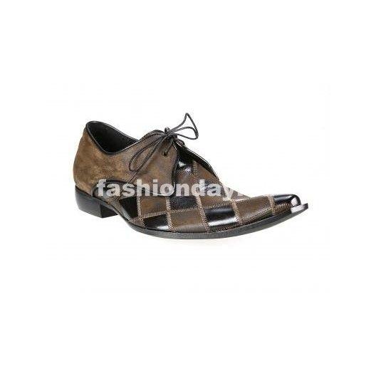 Pánske kožené extravagantné topánky čierno-hnedé - fashionday.eu