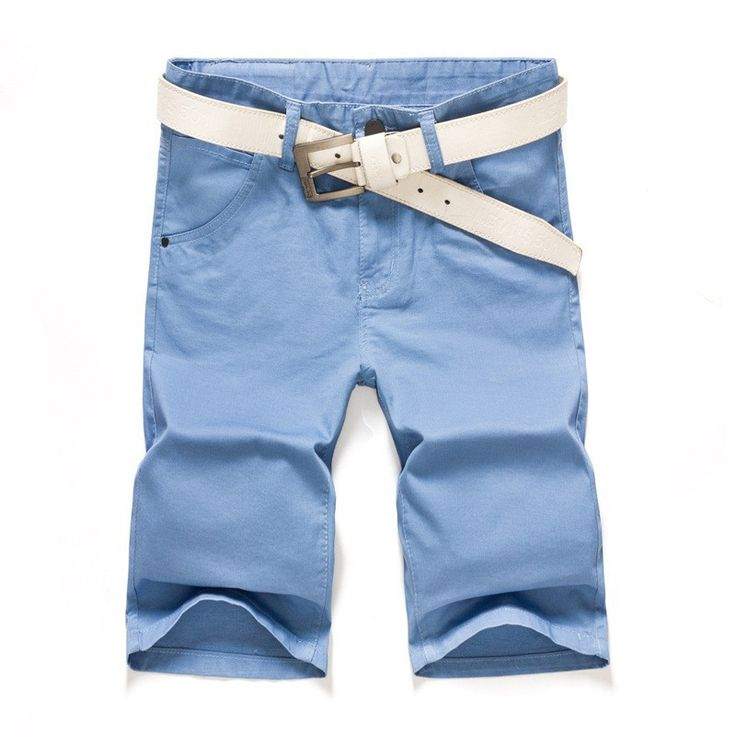 Men Chino Shorts, Casual Summer Shorts, Sky Blue