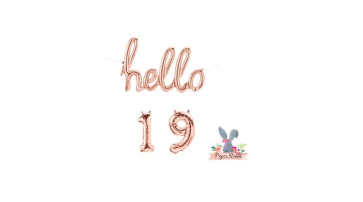Hello 19 Rose Gold Script Balloon. Hello Balloon. 19TH Birthday Party. Birthday Party Decorations.Rose Gold Balloon.Hello 19 Balloon Banner by PaperRabbit87 on Etsy