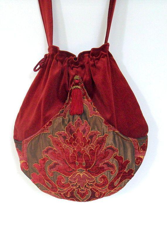 Brick Red Velvet Pocket Boho Bag  Drawstring Bag by piperscrossing, $58.00