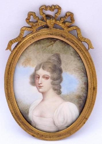 Fine 19th 18thC Antique Painted Miniature Portrait Young Lady Ormolu Frame | eBay