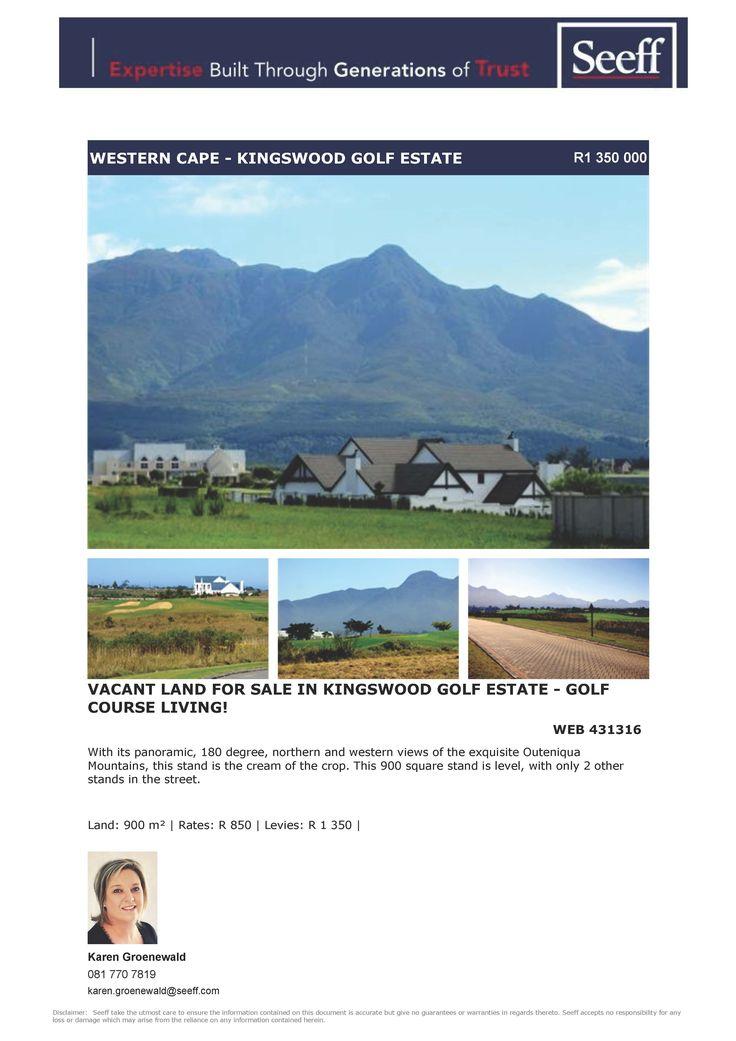 #seeff #newlisting #golf #estate #forsale #property #vacantland #george #gardenroute #westerncape  Vacant Land for Sale in Kingswood Golf Estate - Golf Course Living! www.seeff.com/Details?webref=431316  karen Groenewald 081 770 7819