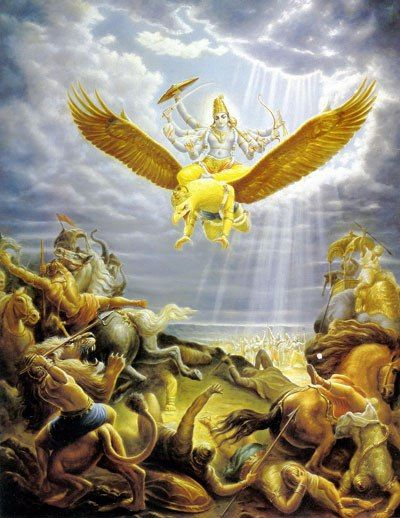 Vishnu: Integrante da Trimurti. Deus da preservação e o sustentador do universo na religião hindu. Teve nove avatares por meio do qual atuava nos desígnios da Terra (Matsya, o peixe; Kuma, a tartaruga; Varaha, o Javali; Narasimha, o homem leão; Vamana, o anão; Parahurama, o homem com o machado; Rama, o arqueiro; Krishna; Buda, o Iluminado).  Vishnu tinha por montaria a poderosa ave Garuda – pássaro solar brilhante como o fogo.