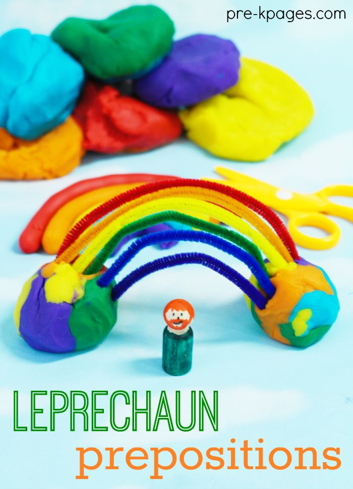 Learning Prepositions with Lucky the Leprechaun Preschool Activity for St. Patrick's Day. Fun and Educational Way to Learn Prepositions in Preschool and Kindergarten.