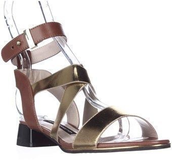 French Connection Corazon Ankle Strap Low Dress Sandals, Gold/tan.  #goldanklestrapsheels #