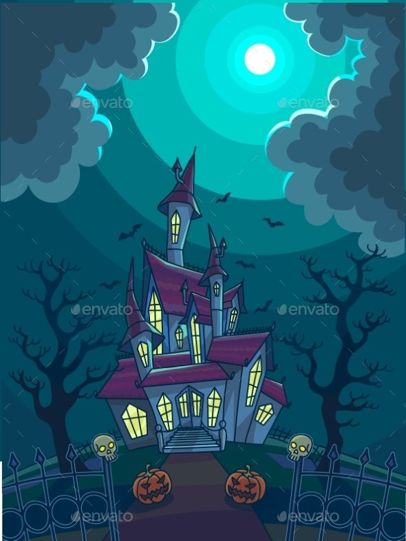 Halloween Vector Illustration With Scary House