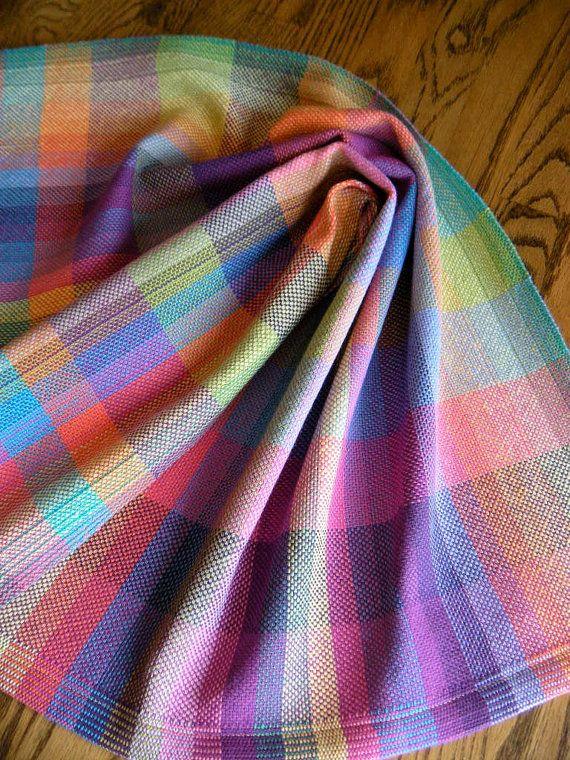 Handwoven Tea Towel Rainbow Basket Weave by ThistleRoseWeaving