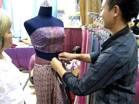 How to wear thai long wrap skirt - YouTube