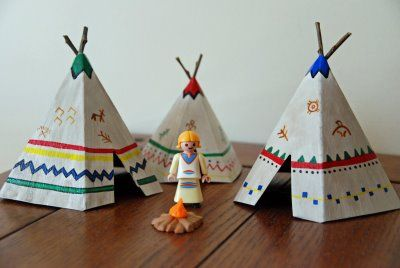 How to Make Mini Teepees/Tipi with free printable template  #nativeamerican #homeschool