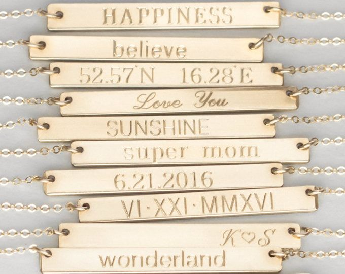 Gold Bar Necklace, Personalized Name Plate Necklace, Silver Bar Necklace, Gold Name Necklace,Engraved Bar Necklace,Silver NamePlate Necklace