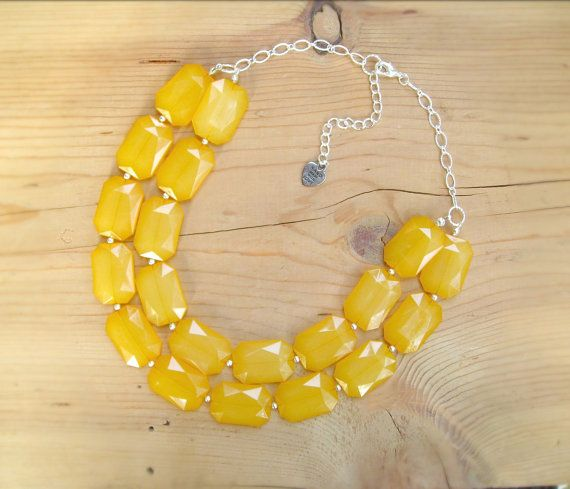 Mustard Yellow Statement necklace Mustard by ThatsmineBoutique, $40.00