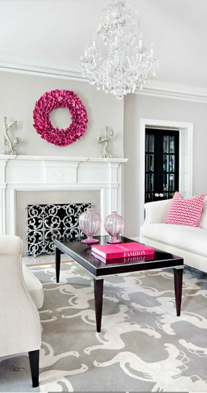 Home Decor Pictures Living Room Part - 38: Living Room - Love The Gray Rug And Pop Of Pink In The Home Decor!