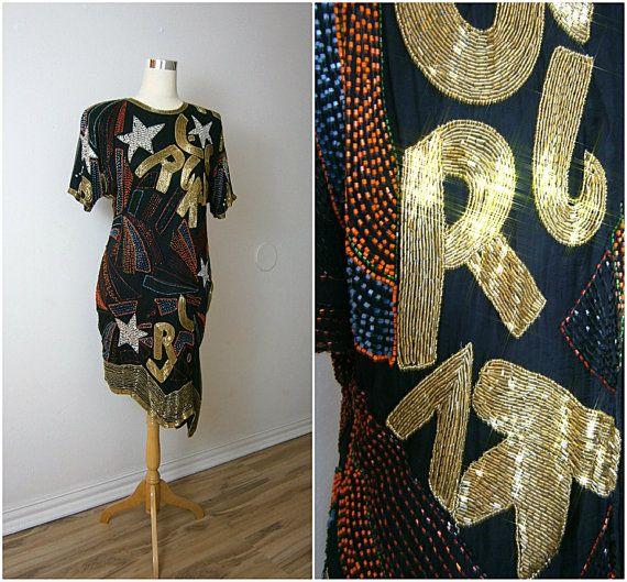 VTG Star Sequin Flapper vestito / / Rock Star vestito nero / / oro in rilievo abito / ART DECO abito M
