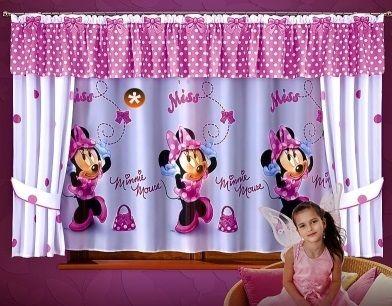 Firanka z myszką Minnie / metraż Idealna firanka do pokoju twojej córeczki.  Kolorowy elegancki wzór sprawia, że pokój twojej córki, będzie radosny i pełen uśmiechu.   Materiał: woal (oznaczony znakiem * na zdjęciu)  Rozmiar: wysokość 150 cm szerokość: dowolna, produkt w sprzedaży na metry bieżące  Cena dotyczy 1 mb.   W sprzedaży jest także cały gotowy komplet.  Dostępna na stronie: kasandra.com.pl