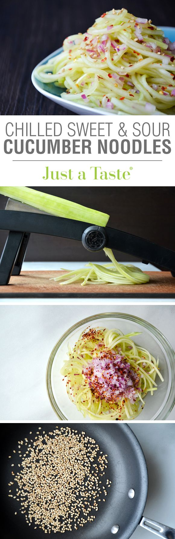 Chilled Sweet and Sour Cucumber Noodles #recipe from justataste.com
