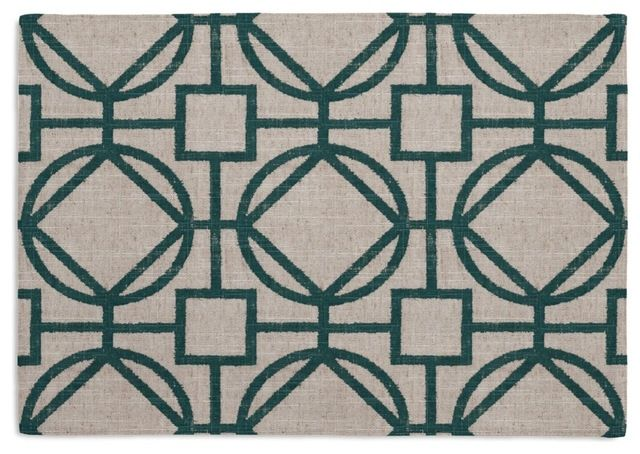 Teal & Natural Modern Trellis Custom Placemat Set modern-table-linens
