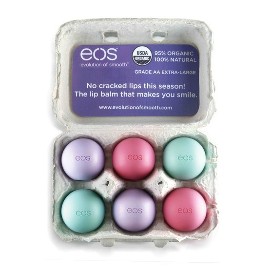 Making the Easter bunny proud with a carton of eos lip balm.