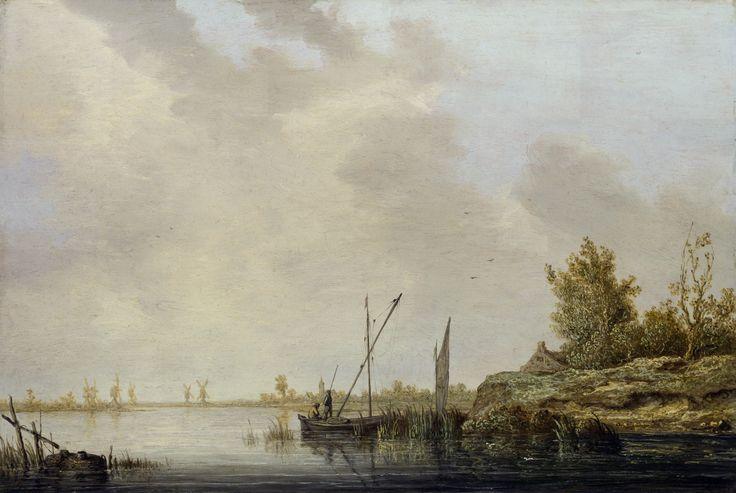 Речной пейзаж с мельницами на горизонте. 1640-42, 35х52, Нац гал Лондон. Aelbert Cuyp (1620-1691)