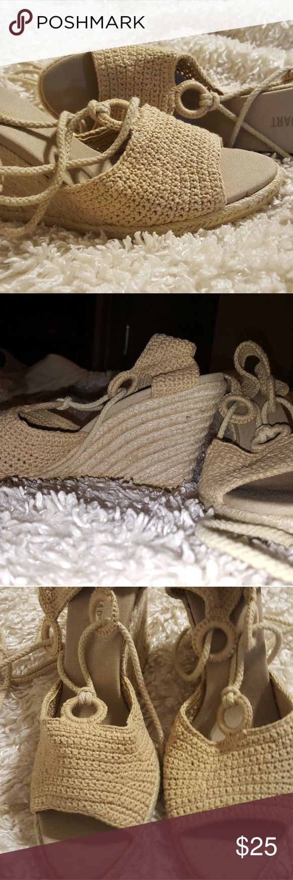 Colin Stuart (VS) Crocheted Beige Wedge Sandals 9 These gorgeous wedges are practically in pristine conditon. I'm reposhing them because they're just too high for me. The wedge is 3 inches. Colin Stuart Shoes Espadrilles