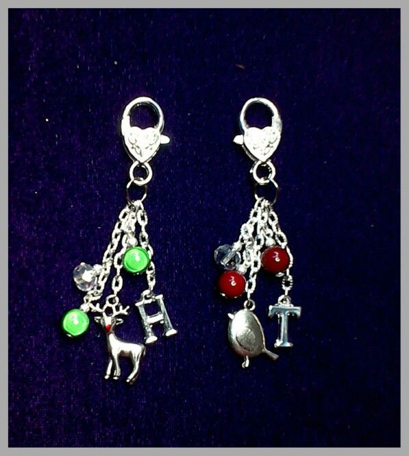Robin & rudolph reindeer handbag charms, personalised with initials & using miracle & glass beads