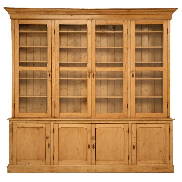 Pine Kitchen Cabinet: Pine China Cabinet/Book Case, England, Late 19th Century