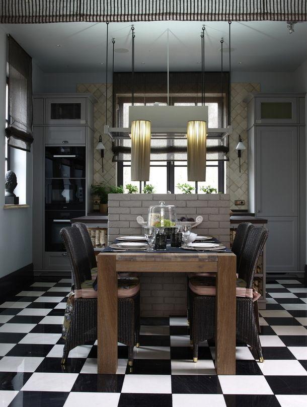 На кухне кирпичная перегородка закрывает рабочую поверхность от глаз людей, сидящих за столом. Кухонная мебель, Siematic. Краски нужного цве...