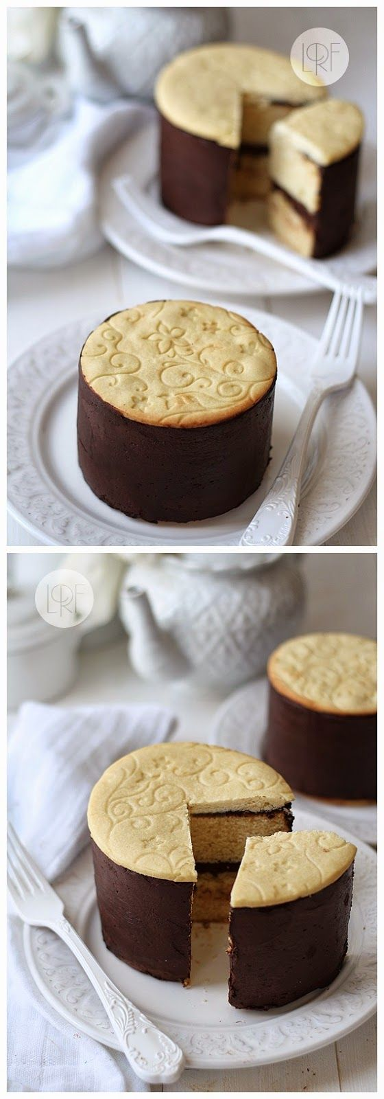 Mini Cakes Decorated with Embossed Cookies
