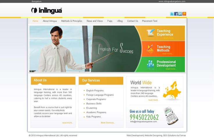 inlingua bangalore web UI design and developed by Fomaxtech team.