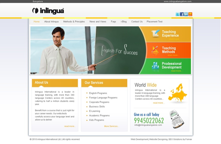 inlingua bangalore web UI design and developed by Fomaxtech team.