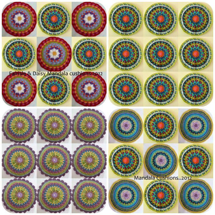Un'esplosione di colori con i Mandala fatti a uncinetto.  Questi nella foto sono una presentazione di alcuni dei Mandala fatti da Sue. Nel post originale Mandala Madness ...