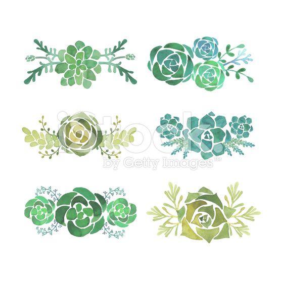 Watercolor succulent set royalty-free stock vector art