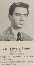 """Carl Sagan's 1951 yearbook photo at Rahway High School: """"An excellent student, he should achieve fame."""" And he sure did!"""