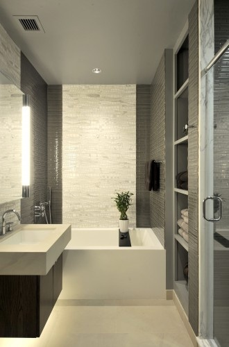 Idea for main bathroom - like the storage next to the bath by the door. Like also the tiles very much and general look too