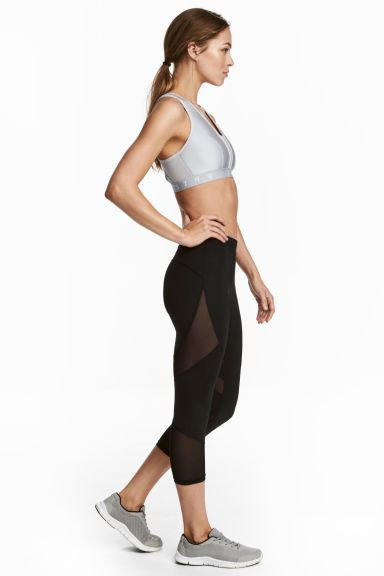 3/4-length running tights - Black - Ladies   H&M GB 1