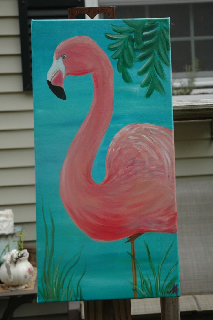 Hand painted flamingo painting - one of a kind, original piece - asking $75 - 10x20 stretched canvas