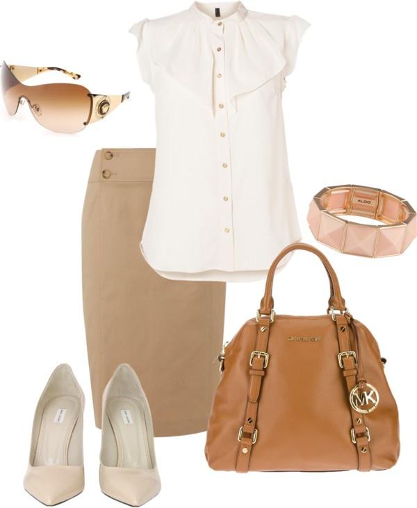 """""""Peach, White & Khaki Skirt Outfit"""" by megan-czyzewski on Polyvore"""