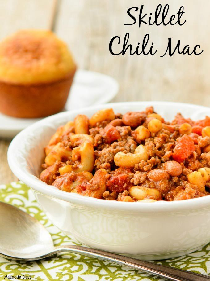 Quick and Easy Dinner idea - Skillet Chili Mac made with #McSkilletSauce #WeekdaySupper