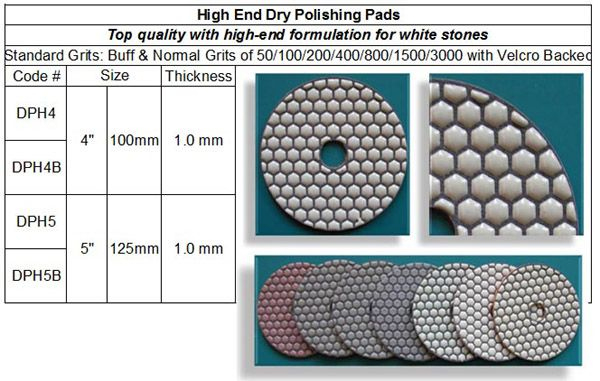 High End Dry Polishing Pad made by RM Tech Korea (StoneTools Korea®) provides the highest quality; world top selling more than 500 sets monthly