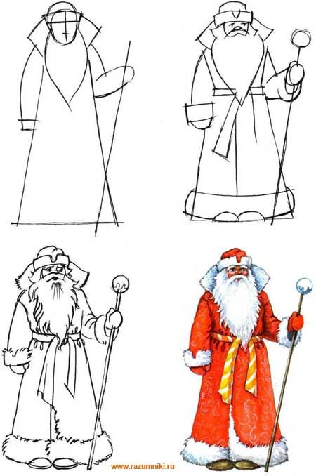 Еще варианты рисования Деда Мороза Дедушка Мороз красный нос