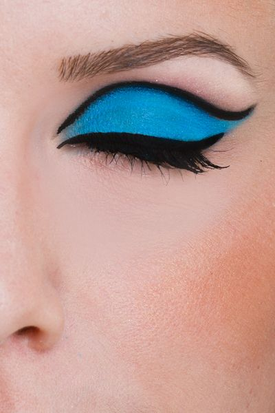 Thinking something like this for eyeshadow since the blue would look sharp with my dress