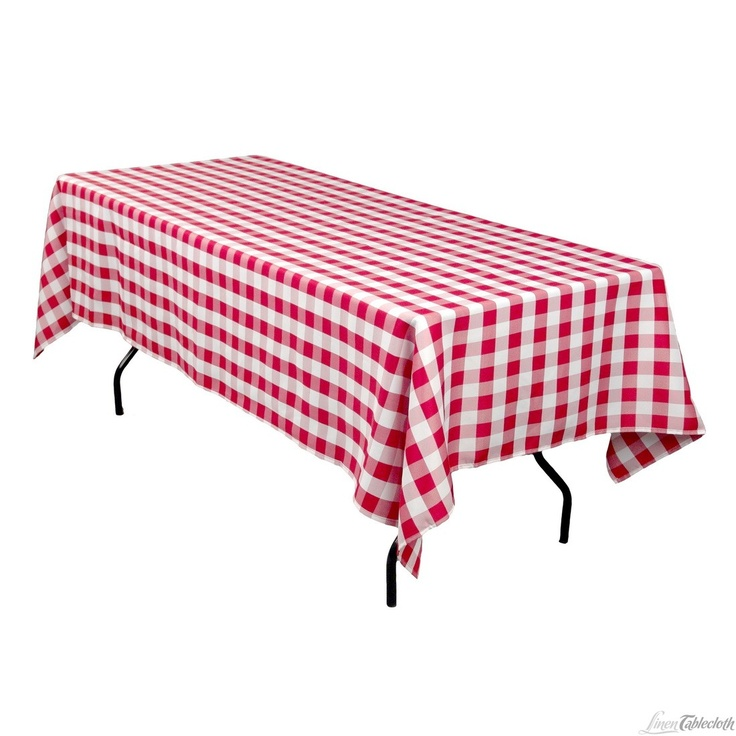 60 x 126 inch rectangular polyester tablecloth checkered red and white on a 8 foot rectangular. Black Bedroom Furniture Sets. Home Design Ideas