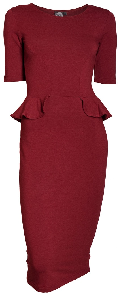 Think Boutique, Nancy Dee -Gwen Black Cherry Peplum Dress