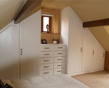 Fitted wardrobes in an attic bedroom. Or my slanted ceiling cap cod bedroom?