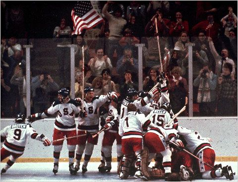"""FEB. 22, 1980:  US  olympic hockey team defeated the USSR hockey team to win the gold medal. image:  Feb. 22, 1980 