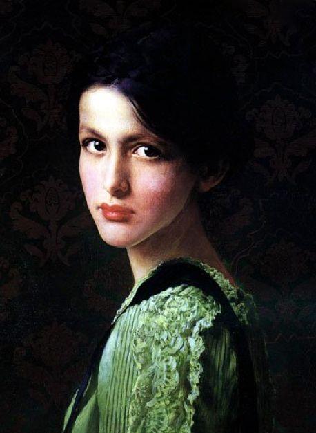 Vittorio Matteo Corcos (Italian; 1859-1933) ~Portrait of a Woman (Volto di Donna);oil on canvas (1900).
