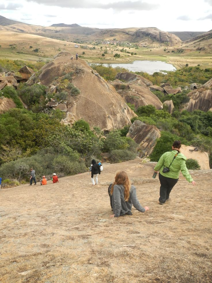 Students exploring the rock formations at the community-developed Anja Special reserve, near Fianarantsoa, in central Madagascar.