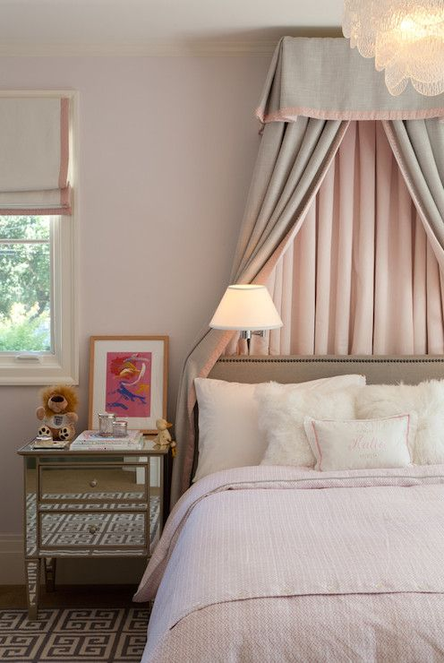 Pretty Pink And Gray Girl 39 S Room With A Pottery Barn Park Mirrored Bedside Table Atop A Gray